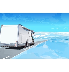 Camper traveling on mountains road vector