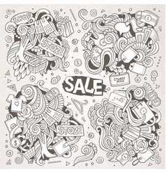 Cartoon set of sale doodles designs vector