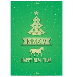 Christmas greeting card with symbols of 2014 year vector image vector image