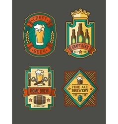 Collection of retro beer labels stickers vector image vector image