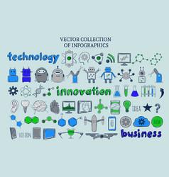 Colored infographic techology elements set vector