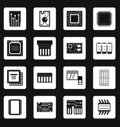 computer chips icons set squares vector image