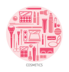 cosmetics icons set in circle frame vector image vector image