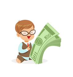 Cute boy businessman holding stack of money kids vector