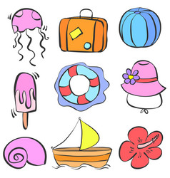 Element summer holiday doodle style vector