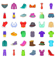 Fashion clothes icons set cartoon style vector