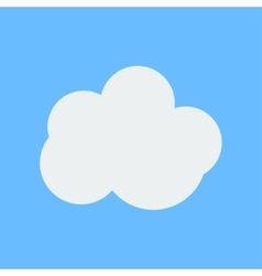 Flat white cloud weather icon on cyan background vector