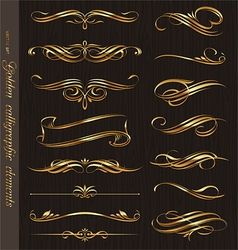 Golden calligraphic design elements vector