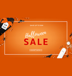Halloween sale web banner vector