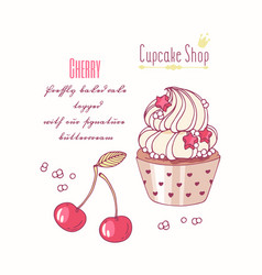 hand drawn cupcake cherry flavor vector image vector image