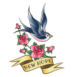love tattoo with swallow and branch of rose vector image