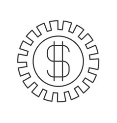 Monochrome silhouette of pinion with money symbol vector