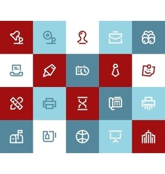 Office and business icons Flat style vector image vector image
