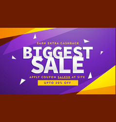 Purple and yellow biggest sale discount voucher vector