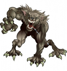 snarling scary werewolf vector image vector image