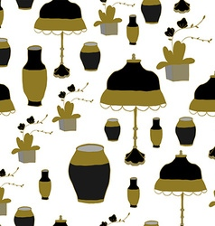 The pattern vase and lamp Chinese style vector image