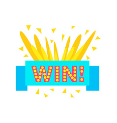 Win congratulations sticker with blue ribbon vector