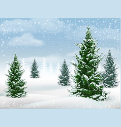 winter landscape fir tree vector image vector image