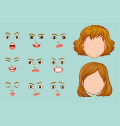 woman faces with different expressions vector image