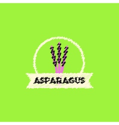 Flat icon design collection asparagus emblem vector