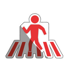 Man silhouette walking crosswalk vector