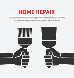 Hand with trowel and brush home repair concept vector