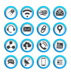 Connection and communication icons set vector