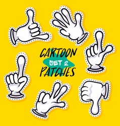 cartoon hands showing different signs vector image