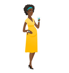 Pregnant woman holding a glass of water and pills vector