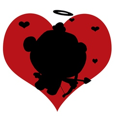 Cartoon cupid silhouette vector
