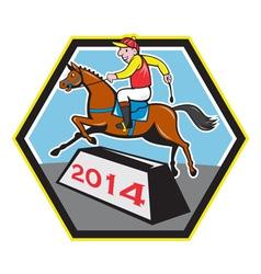 Year of horse 2014 jockey jumping cartoon vector