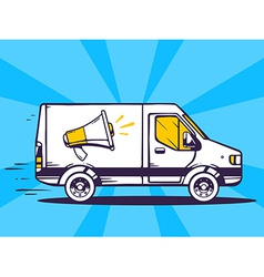 Van free and fast delivering megaphone to vector