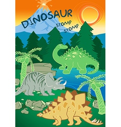 Dinosaurs stomp stomp next to a volcano vector