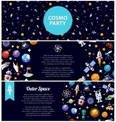 Set of flat design flyers with space icons and vector