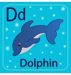 The letter of the english alphabet d blue dolphin vector