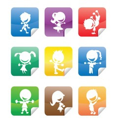 Colorful glossy stickers with happy kids silhouett vector