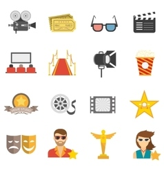 Movie icons flat vector