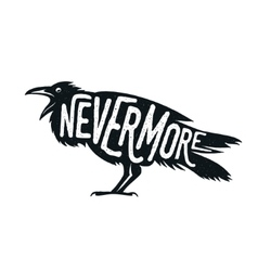 Raven with word nevermore vector