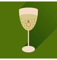 Flat icon with long shadow glass of champagne with vector