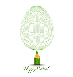 Green pencil with reflection drawing easter egg on vector