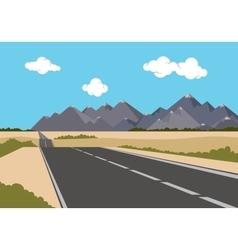 Highway flat style empty road with mountains vector
