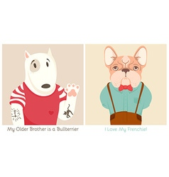 French bull dog and bullterrier cartoon vector