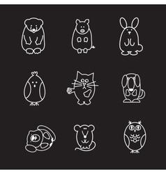 Animal line icons vector