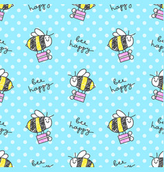 bee happy pattern vector image