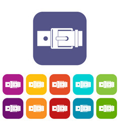 Belt with square buckle icons set flat vector