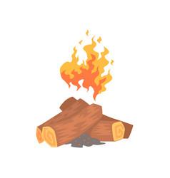 bonfire campfire logs burning cartoon vector image