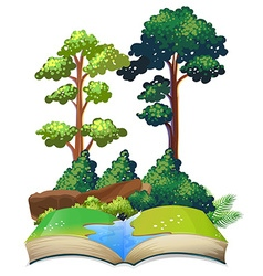 Book of nature with trees and river vector