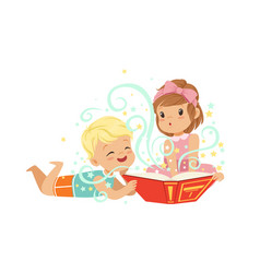 boy with little girl reading magic book with vector image
