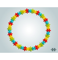 Colorful puzzle round frame vector