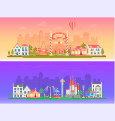 day night amusement park - set of modern flat vector image vector image